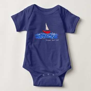 Dream Sail Live Sea Boat Seagulls Baby Bodysuit