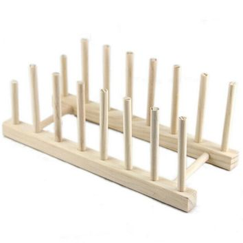 LS4G Wooden Plate Rack Wood Stand Display Holder Lids Holds 7 New Heavy Duty Free Shipping