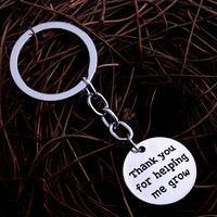 Thank You For Helping Me Grow Keyring Father Mother Teahcer Best Friend Gifts Keychain Charm Women Men Jewelry