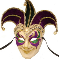 3 Point Purple, Green, and Gold Full-Face Jester Mask - Toomeys Mardi Gras