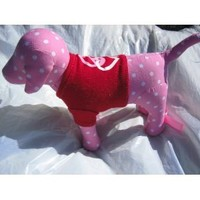 Victoria's Secret Pink Polka Dot Dog in Red Peace & Heart Shirt