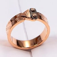 LV Louis Vuitton New fashion monogram couple personality ring Rose Gold