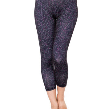 Geo Print High Waisted Cropped Yoga Leggings