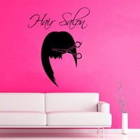 Wall Decor Vinyl Decal Sticker Words Woman Model Girl Hair Salon Scissors Hair Stylist Beauty Salon Bedroom Living Room Home Interior Design Kg862