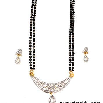 Designer Arc CZ Pendant Mangalsutra with Earring - Double Chain - Long