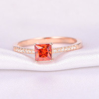 Natural Garnet Engagement ring,5mm Princess Cut Stone,Solid 14k Rose gold,Wedding Band,Personalized for her/him,Custom ring