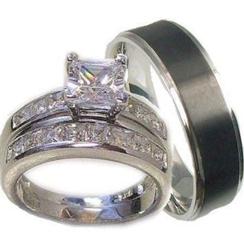 His & Her 3 Piece Wedding Ring Set 925 Sterling Silver and Stainless Steel