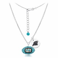 Carolina Panthers Silver and Crystal Necklace Jewelry. NFL Jewelry