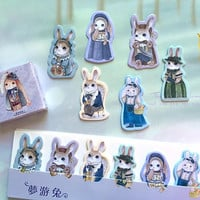 pretty rabbit sticky note lovely forest bunny sticky memo miss rabbit dress up rabbit fancy rabbit fairy tale animal memo pad paper gift