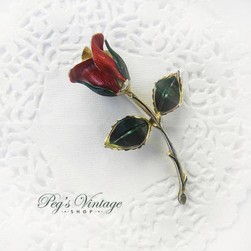 Vintage Red Rose Pin, Red & Green Enamel Flower, Gold Tone Brooch, Pin Jewelry Gift For Her