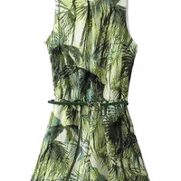Green Tree Print Romper Playsuit - Choies.com