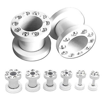 1 Set White Flesh Tunnel Plug Piercing with Strass Rhinestones Stainless Steel 14-000 Gauge 1,6-10 mm+Extra Gift box