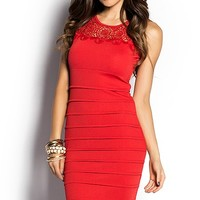 Reese Red Crochet Lace Pleated Sheath Dress