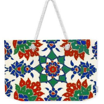 An Ottoman Iznik Style Floral Design Pottery Polychrome, By Adam Asar, No 13d - Weekender Tote Bag