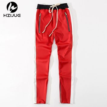 Men pants Striped Waistband Track Pants Zipped Pockets Ankle Slim Fit Joggers