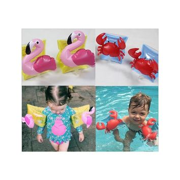 Cute Swimming Arm Ring Crab Flamingo Inflatable Arm Bands Swimming Floatation Sleeves Arm Floats for 2-8 Years Old Children