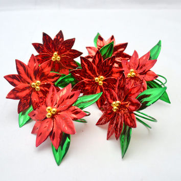 Vintage Poinsettia Napkin Rings, Set of 7 Painted Metal Holiday Napkin Rings, Red and Green, 1980s