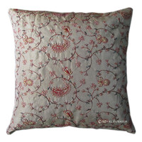 Indian Hand Embroidered Floral Silk Throw Pillow