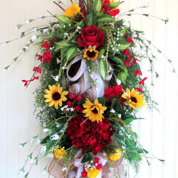 Door swag spring, red wreath, hydrangea swag, teardrop door swag, Mothers day wreath, gifts for her, spring summer swag, front porch decor