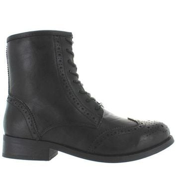 ESBONIG Wanted Rickey - Black Perforated Wing-Tip Lace-Up Boot