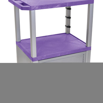 Luxor Purple Movable Multipurpose Storage Utility Serving Cart With Nickel Tuffy Lockable Cabinet 42""""
