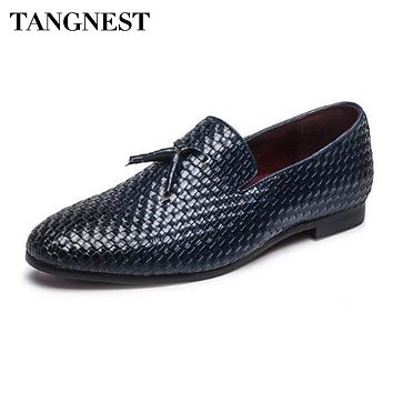 Tangnest NEW 2018 Brand Men Shoes Fashion Round Toe Slip-on Flats  Luxury Cow Split Leather Tassel Men's Driving Shoes