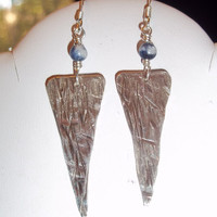 Arrow Shaped Sterling Silver Earrings, Textured, Dangling White Flecked Blue Stone Accent Beads,  Modern, Fashion