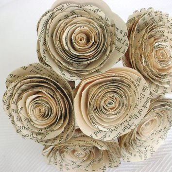 "Vintage book page spiral 1.5-1.75""  roses paper flowers bouquet"