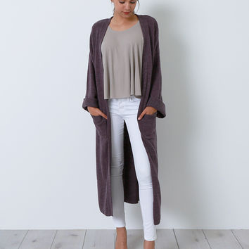 Getting It In Maxi Sweater Cardigan - Purple