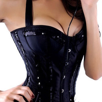 NEW SEXY Sequin Neck Line Corset (Black/Red/White) LC5163 = 1929488132