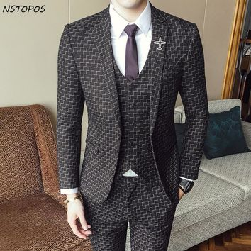 Men's 3 Piece Vintage Plaid Suit Up To XXL