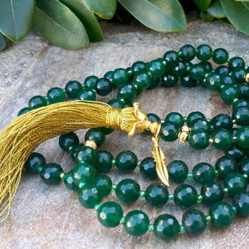 Buddhist Prayer Beads - 108 Mala Tassel Necklace, Dark Green Madagascar Agate Gemstone Necklace, Yoga, Buddhist, Meditation, Prayer Beads