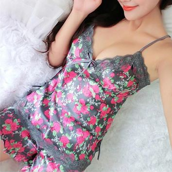 Silk Lace Floral Sleepwear Lingerie Nightdress Babydoll Pajamas Set