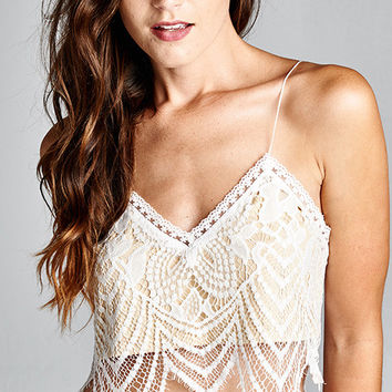 LACE CROP CAMI TOP WITH LINING