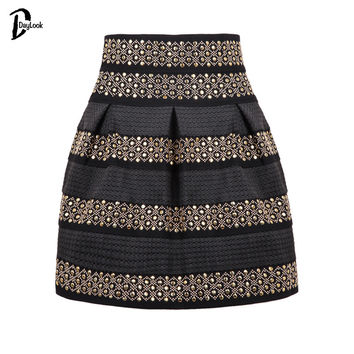 DayLook 2016 Summer Style Women White&Black Rivet Striped Skirt Bud Studded Punk Bandage Skater Skirts Saia Plus Size S-XL