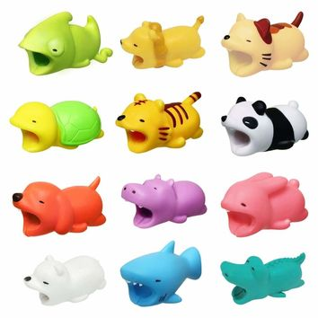 Cartoon Animal Bite USB Charger Cable Phone Protector For Iphone Android Samsung