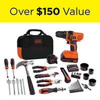 BLACK+DECKER Portable Lithium-Ion Drill n Power Hand Tools Household Repair Kit