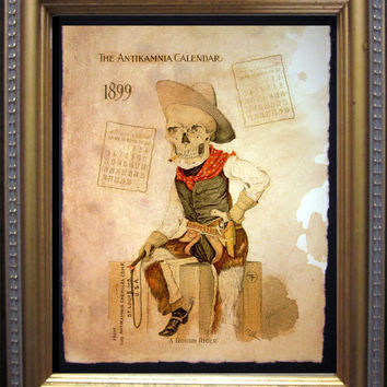 Antikamnia Calendar Skeleton Illustration Cowboy Rough Rider Art Print- Vintage Art Print on Tea Stained Paper