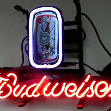 Budweiser Can Beer Bar Neon Sign Real Neon Light