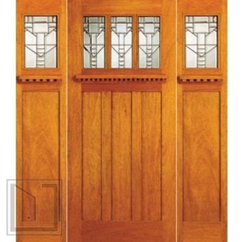 Mission Style, Mahogany Prehung Three-Lite Door and Two Sidelites