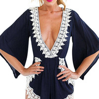 Bell-sleeved Deep V-neck Romper With Lace Trims