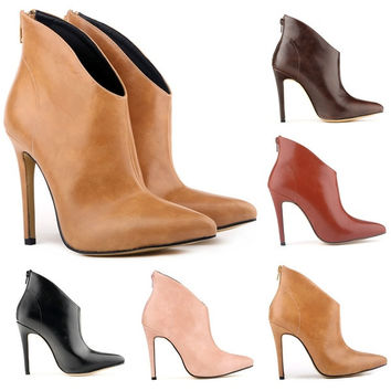 5 Colors New fashion winter women's boot high-end super fine imitation leather shoes pointed with short boots Size 35-42 = 1932528260