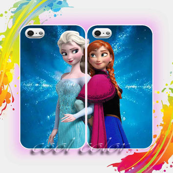 Anna and Elsa Ice Crystal Disney Frozen Couple Design for iPhone 4/4s, iPhone 5/5s/5c, Samsung Galaxy S3/S4 Case