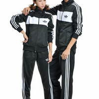 """Adidas""Unisex Classic Clover Three Bars Long Sleeve Casual Couple Sportswear Set Two-Piece"