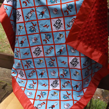 Sale - Handmade Celebration Seuss Crib Quilt, Red Minky Backer - Cat in The Hat Fabric, Modern Crib Quilt