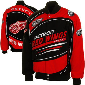 Detroit Red Wings Sentinel Cotton Twill Button-Up Jacket - Black/Red