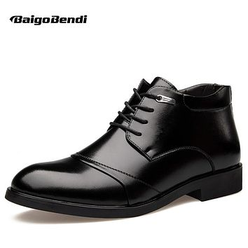 US 6-12 Mens Black Genuine Leather Lace Up Fur Lined Ankle Boots Winter Warm Oxford Dress Shoes