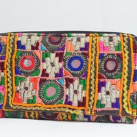 Vintage mirror work rabari black kutch Banjara boho fabric clutch OOAK hand embroidered embroidery gypsy clutch wallet bag ethnic B5