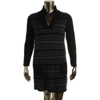 Style & Co. Womens Metallic Knit Sweaterdress