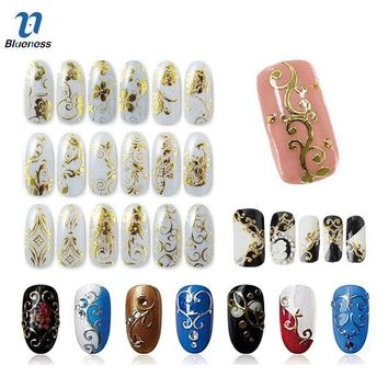 DCK9M2 Gold Silver 3D Nail Art Stickers Nail Decoration Design Brand Foils Beauty Stickers For Nails Accessories Decals Tools JH125